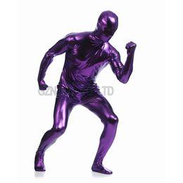 Wholesale Men Leather Catsuit - Wholesale-Adult Mens Faux Leather Metallic Purple Bright Full Skin Zentai Cosplay Costume Halloween Suit Bodysuit Unitard leotard