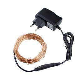 Wholesale Copper Plug Power - Christmas lights 8 Colors 10m 100 LED Copper Wire LED String Light Starry Lights+Power Adapter (UK,US,EU,AU Plug) holiday lights