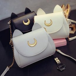 Wholesale Halloween Sailor Moon - 3 Colors Kawaii Summer Sailor Moon Ladies Handbag Black Luna Cat Chain Shoulder Bag Leather Women Messenger Crossbody Bag CCA7027 50pcs