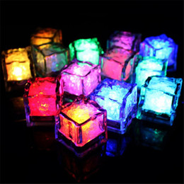 Wholesale Led Candle Favor - Cube ice electronic candle colorful flash led Light bulbs food grade under water drink lights led candle christmas hallowmas bar decors