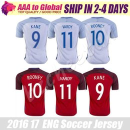 Wholesale National Soccer Team Uniform - VARDY soccer jerseys 2016 English National team Uniforms away RED home white #7 STERLING #9 KANE #14 HENDERSON #10 ROONEY football shirt