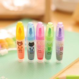 immagini luminose Sconti All'ingrosso-6 Pics / lot Kawaii Evidenziatore Set pennarelli Carino cancelleria coreano Marker Light Drawing Forniture per bambini