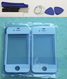 Wholesale Iphone 4s Front Replacement - Front Outer Glass Lens Kits for iPhone 4S Front Cover Replacements for iPhone 4 Repair Parts Free Tools Black White