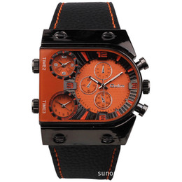 Wholesale Oulm Watches For Men - OULM 9315 Large 3 Time Zone Dial Military Watch for Men Relogio Masculino Marca Esportivo Grande Montre Homme de Marque Grosse Analog-Digita