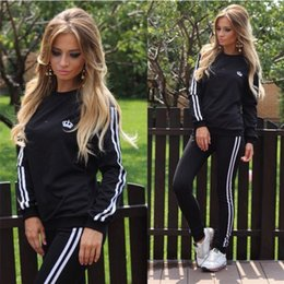 Wholesale Lady Brand Cotton Sweatshirts - 2017 New Spring Sport Suits For Women 2 pieces Sets Brand Tracksuits Hoodies Sportswear Sweatshirts Ladies Costumes Track Suit