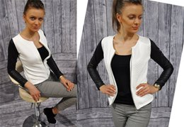 Wholesale Long Leather Quilted Sleeve Coat - Wholesale- New Fashion Women Zipper Jackets Patchwork Quilted O-neck Long Sleeve PU Leather Stitching Jacket Coat Outwear