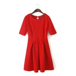 Wholesale Vestidos Mini Skirt - Women Vestidos High Waist Pleated Dress Slim Red Autumn Warm Dresses Back Mini Dress,Buds skirt,pleated dress vintage swing dresses