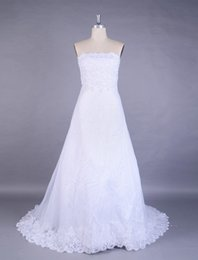 Wholesale Embroidered Pink Ivory Lace - 2016 Real Photos Lace Train Embroidered Wedding Dress A Line White Ivory Organza Bridal Gown Custom Made 2 4 6 8 10 12 14 16 18 20 22 26 28