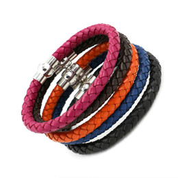 Wholesale Colorful Bracelets For Men - Colorful Weave Leather Bracelets Bangles Stainless steel Magnetic clasp Charm bracelets Wristband Beautiful Titanium Bracelets For Men Women