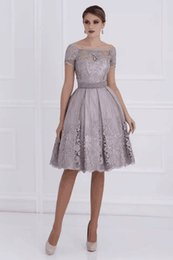 Wholesale Knee Length Evening Gown Dress - New Coming Bateau Short Sleeves Knee Length Lace Ruffle Elegant Beautiful Evening Dresses Evening Gown Prom Dresses