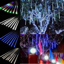 Wholesale White Meteor Shower Lights - 50cm 30CM 8 tube set Meteor Shower Rain LED Light Tubes Christmas Outdoor Lights Lighting 500mm RGB Waterproof Party Xmas Fairy Led Light