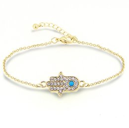 Wholesale Hamsa Charms For Bracelets - Bracelets for Women fashion Hamsa crystal Hand of Fatima turquoise Stone 18K gold Plated Bracelets Jewelry for women