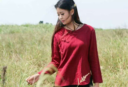 Wholesale China Ladies Fashion Blouse - Forest Girl fashion in China literary retro Flaps with plate buttons long-sleeved cotton shirt loose Ladies Blouses shirts