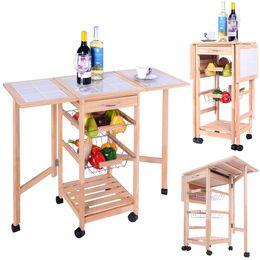 Wholesale Roll Drops - Portable Rolling Wood Kitchen Trolley Cart Drop Leaf Storage Drawers Rack Basket