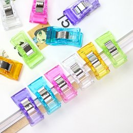 Wholesale Paper Filing Clips - High Quality 30pcs lot Plastic Colored Clips Message Folders Paper Clip 25 X 13 X 13mm Clip Stationery Filing Supplies Material Escolar