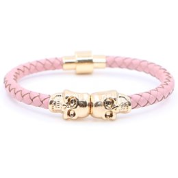 Wholesale Heart Vintage Pink - 2016 Fashion Vintage Design Northskull Genuine Pink and Green Leather Twin Skull Bracelets Bangles for Man Women Jewelry Gift