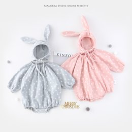 Wholesale Animal Rompers - INS new arrivals fall baby kid climbing romper 100% cotton round collar dot design romper + cap girl boy kids autumn rompers 0-2T 2 color