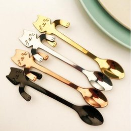 Wholesale Gift Coffee Spoon - Hot Cute Cartoon Cat Stainless Steel Tea Coffee Kids Feeding Spoon Ice Cream Tableware Baby Xmas Gift