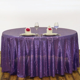 Wholesale Cheap Polyester Table Covers - Buy from china 120'' Round Purple Sequin Table Cover Wedding Cheap sequin fabric tablecloths for parties