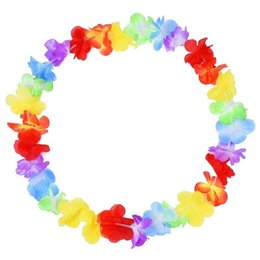 Wholesale Hawaii Flowers Free Shipping - Hawaiian leis Party Supplies Garland Necklace Colorful Fancy Dress Party Hawaii Beach Fun Free Shipping WA1045