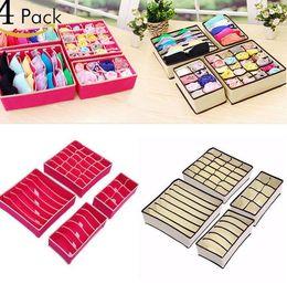 Wholesale Chinese Drawers - 4pcs set Home Storage Socks Bra Underwear Tie Storage Boxes Closet Organizers Drawer Dividers Foldable Drawer Closet Organizers KKA2337