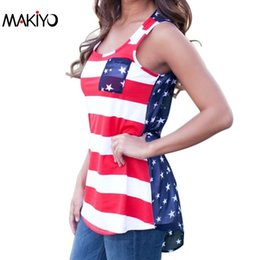 Wholesale Women S American Flag Shirt - Wholesale-NEW Summer Sexy Women Sleeveless Tops American USA Flag Print Stripes Tank Top for Woman Blouse Vest Shirt *35