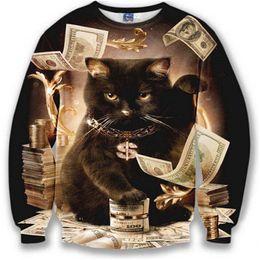 Wholesale Dollar Hoodie - Wholesale-HOT Nice model hoodies for men women 3d sweatshirt funny print big dollars cat and golden flowers sports hoodies autumn tops