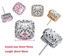 Wholesale Cz Ear Rings - Band New square Crown Wedding Stud Earring 2016 New 925 Sterling Silver CZ Simulated Diamonds Engagement Beautiful Jewelry Crystal Ear Rings