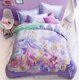 Wholesale Thick Cotton Sheets - 3D Bedding Sets Queen Size Thick Tencel Flower Bedding Quilt Duvet Cover Set Sheet Pillow Cover 4pcs Bedding Set Top Quality Christmas Gifts
