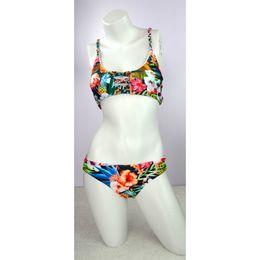 Wholesale Triangle Back Bikini - 2017 Women Floral Print Braided Rope Back Cross Triangle Brazilian Bikinis Set Swimsuit Beach Wear Swimwear Bathing Suit S M-XL