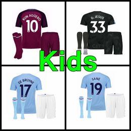 Wholesale Cities Xl - 17 18 man City soccer Jerseys 2017 2018 Man City kids kit DZEKO KUN AGUERO KOMPANY TOURE YAYA DE BRUYNE Home Shirt