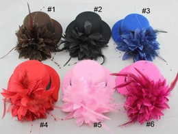 Wholesale Red Mini Top Hats - women bride fascinator mini top hat cap wedding ribbon gauze lace feather flower hats party hair clips caps millinery hair jewelry xmas gift