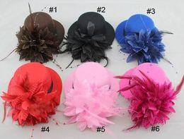 chapéu alto de penas Desconto Mulheres noiva fascinator mini top hat cap fita de casamento gaze de renda pena flor chapéus partido grampos de cabelo tampas millinery cabelo jóias presente de natal