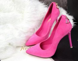 Wholesale Teal High Heel Pumps - NEW Nubuck leather high-heeled shoes fashion fine grade high-heeled suede shallow mouth pointed sexy D word deduction women shoes