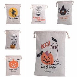 Wholesale Treat Bag Wholesale - Cotton Canvas Halloween Sack Children favor Candy cloth Gift Bag Pumpkin Spider treat or trick Drawstring Bags Party festive Cosplay props