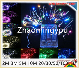 Wholesale Christmas Light Drop Curtain - YON 5PCS With Battery Holder 4.5V 2m 3m 5m 10m 20 30 50 100LED Copper Wire LED String,Starry Lights,For Holiday,Party,Wedding Decoration