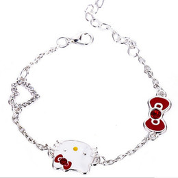 Wholesale Wholesale Kitty Ring - jewelry trendy girl children Hollow rhinestone Heart Bracelets Cat kitten hello kitty Bracelet Three Charm red bow knot bangle 2017 s009