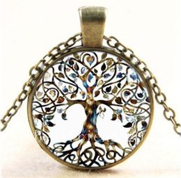Wholesale Vintage Bronze Necklace Chain - Statement necklaces Vintage living tree of life glass Necklace Cabochon bronze chain pendant necklace free shipping