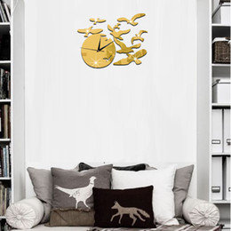 Wholesale Seagulls Wall - 2016 DIY Bird Seagull Hot Mirror Sticker 3D Acrylic Wall Stickers Home Decor Europe Large Poster Kitchen House Flower Christmas Wall Clock