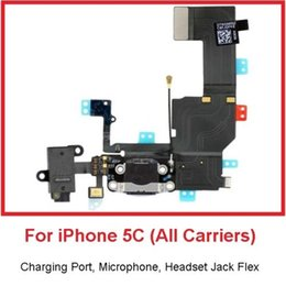 Wholesale Microphone Port - Black and white Charging Port Headset Aux Jack Microphone Flex Cable for iPhone 5C