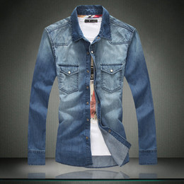 Wholesale Men S Clothing Discounts - Wholesale- Men Jeans Shirt Discount 100% Cotton Men Casual Shirt Slim Fit Long-Sleeves Denim Clothing Free Shipping DJ00
