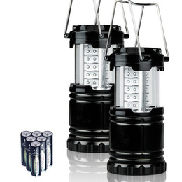 Wholesale LED camping lantern lamp outdoor collapsible lantern emergency Flashlights Portable with AA Batteries Black Collapsible For Hiking Camping
