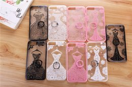 Wholesale Wholesale Case Bra - Fashion Sexy Lace Flower skirt Bra Clear Case For iPhone 6 6S 7 Plus Phone Cartoon Capa Back Cover with Ring Holder Kickstand