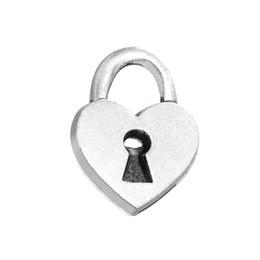 Wholesale Heart Shaped Lock Pendant - Myshape Charms Jewelry antique silver plated heart shape love lock charm pendant for bracelets necklaces making