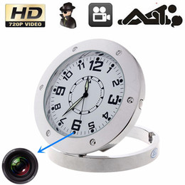 Wholesale Spy Clock Hd - HD 1280 x 960 Round Wall Clock spy camera hidden HD mini clock camera security surveillance wall clock spy cam