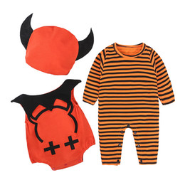 Wholesale 2t Girls Fall Clothes - Halloween Baby Cosplay Clothing Boys Girls Devil Pattern Long Sleeve Cotton Romper With Hat Fall Infant Clothes