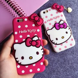 Wholesale Iphone5 Case Polka Dot - Hello Kitty 3D Phone Case Soft Silicone Cover Iphone5 5S 6 6S 6plus Kitty Polka Dot Cute Cartoon Pendant Case 20PCS Set