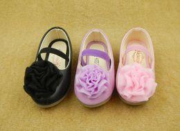 Wholesale Child Pink Dress Shoes - Kids shoes New girls lace flowers round head princess shoes kids elastic PU leather shoes children dance dress kids wedding shoes 6083