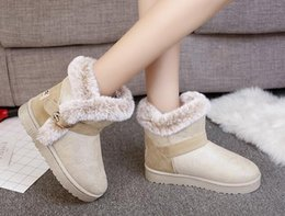 Wholesale Women S Cotton Slips - Autumn and winter snow boots women 's short boots boots Mianxie flat women' s shoes plus velvet slip non - slip Martin boots