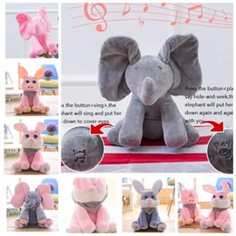 Wholesale Elephant Stuff Animal - Peek-a-boo Elephant Plush Toy Hide and Seek Electric Music Elephant pig rabbit Sing Plush Stuffed Doll Animal Play Music TOYS KKA2744